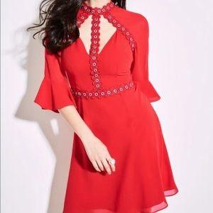 (NEW) MARCIANO x Jennifer Lopez; Red Flared Dress